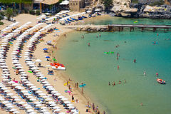 View from above of the main beach in Lindos, Rhodes Stock Photography