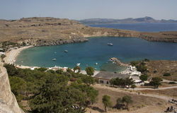 View from above of the main beach in Lindos Stock Photos