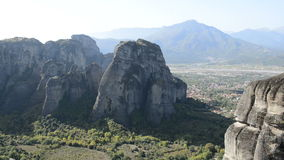 View from above on the Meteora and Kalambaka village stock video footage