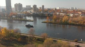 View from above Moscow Canal and Khimki city, Russia stock video