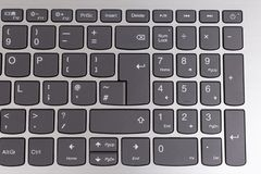 View from above of notebook keyboard. View from above of laptop notebook qwerty keyboard stock photography