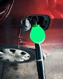 Super 95 gas petrol at the German gas station red car stock image