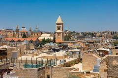View  from above of Old City of Jerusalem, Israel. Royalty Free Stock Photo
