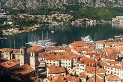 View from above on the old town of Kotor and Kotor Bay, Monteneg. View from above on the old town of Kotor, mountains and Kotor Bay, Montenegro royalty free stock image