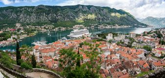 View from above Old Town of Kotor in Montenegro stock image