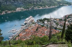View from above Old Town of Kotor in Montenegro stock photo