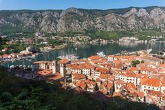View from above on the old town of Kotor and Kotor Bay, Monteneg. View from above on the old town of Kotor, mountains and Kotor Bay, Montenegro royalty free stock photos