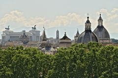 Panorama of Rome with the Altar of the Fatherland royalty free stock photo