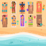 View from above people on a sunny beach. Summertime sea, sand, umbrellas, towels, clothes, Top view. Vector illustration.  Royalty Free Stock Image