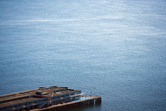View from above of pier and water Royalty Free Stock Photo