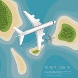 View from above. The plane flying over the islands. vector illustration