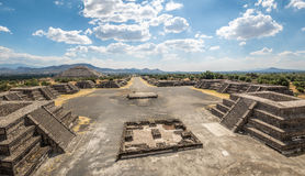 View from above of Plaza of the Moon and Dead Avenue with Sun Pyramid on background at Teotihuacan Ruins - Mexico City, Mexico. View from above of Plaza of the stock image