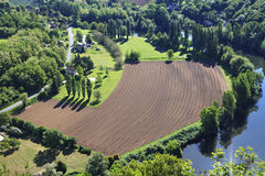 View from above. On a Plowed field Stock Image