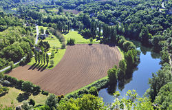View from above. On a Plowed field Royalty Free Stock Image