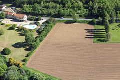 View from above. On a Plowed field Stock Photo