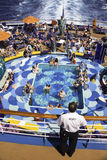 A view from above a Pool Party on a Cruise Stock Photo