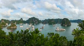 View from above on popular tourist destination Halong Bay Royalty Free Stock Images