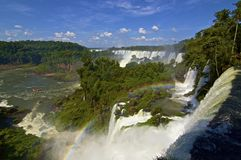 View from above of rainbow across Iguazu falls in Argentina Royalty Free Stock Photography