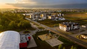 View from above on real estates in Ostrow Wielkopolski. In Poland, during dynamic weather stock photos