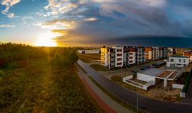 View from above on real estates in Ostrow Wielkopolski in Poland. During dynamic weather stock image