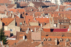 View From Above Of Red Medieval Tiled Roofs royalty free stock photos
