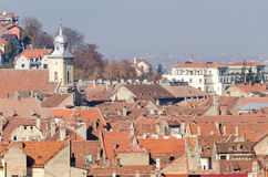 View From Above Of Red Medieval Tiled Roofs stock photography