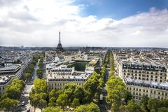 Panoramic of paris with eiffel tower royalty free stock photos