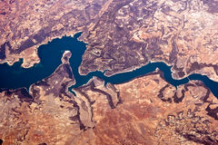 View from above on the river Rhine Stock Images