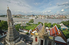 View from above the roof of Bangkok Temple of Dawn Royalty Free Stock Photography