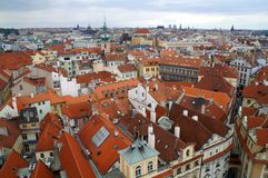 View from above on the roofs of houses in Prague Stock Photo