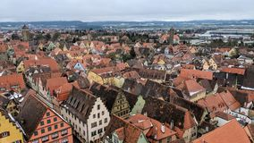 View above Rothenburg ob der Tauber, Germany. Which is a medieval city that has been preserved Stock Photos