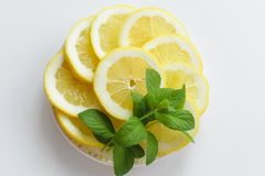 Top view of plate ful of lemon slices. royalty free stock photos
