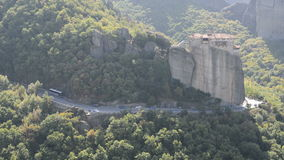 View from above on the Rousannou - St. Barbara monastery. Meteora,  Greece stock video footage