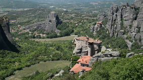 View from above on the Rousannou - St. Barbara monastery. Meteora,  Greece stock video
