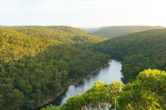 View from above on Royal National Park and Hacking river. View from above on Royal National Park forest and Hacking river from Bungoona Lookout stock image