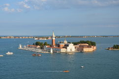 San Giorgio Maggiore - Venice - Italy. View from above of San Giorgio Maggiore is one of the islands of Venice, northern Italy. San Giorgio is now best known for Stock Photos