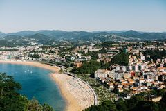 View from above of San Sebastian, Spain in Basque Country stock photography