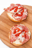 View from above on a sandwich with ham, cheese and ketchup Stock Images