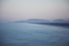 A view from above on a sandy beach and mountains. Gokarna, India Stock Photos