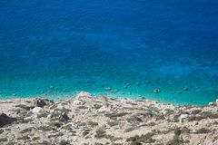 View from above of scenic coast with turquoise water, Gavdos, Greece stock photo