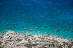 View from above of scenic coast with turquoise water, Gavdos, Greece stock image