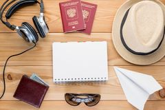 View from above set of objects for comfortable travel, blank in stock photography