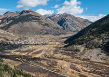 View from above Silverton, Colorado. Silverton, Colorado, tucked away in the Western Rocky Mountains Royalty Free Stock Photos