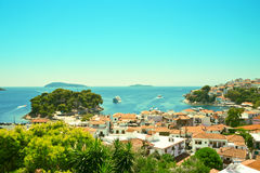 View from above of Skiathos town. Skiathos island, Sporades arch. Ipelago. Greece Royalty Free Stock Photo