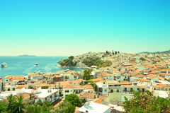 View from above of Skiathos town. Skiathos island, Sporades arch. Ipelago. Greece Stock Photography