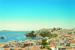 View from above of Skiathos town. Skiathos island, Sporades arch. Ipelago. Greece Royalty Free Stock Images