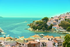 View from above of Skiathos town. Skiathos island, Sporades arch. Ipelago. Greece Stock Image