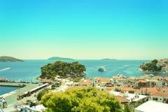 View from above of Skiathos town. Skiathos island, Sporades arch. Ipelago. Greece Royalty Free Stock Photos
