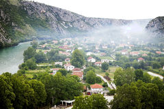 View from above on small town Pocitelj, Bosnia-Ger Stock Photo
