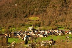 View from above of a small village in the mountains. Taken in the Pyrenees, France Stock Photo